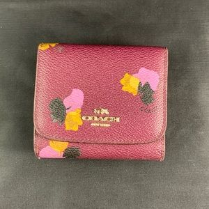 Coach Trifold Wallet w/ Floral Print in Purple